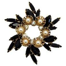 Vintage Juliana Black Rhinestone Faux Pearl Metal Flower Brooch