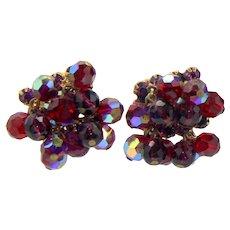 Vintage Juliana Purple Red Rhinestone Crystal Bead Earrings