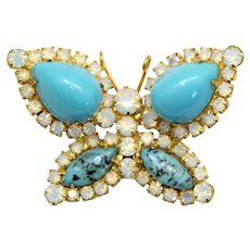 Vintage Juliana Turquoise High Domed Plastic Cabochon Opal Glass Rhinestone Butterfly Brooch
