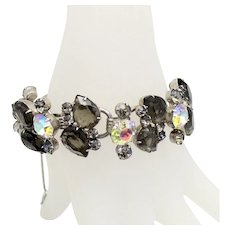 Vintage Juliana Black Diamond Gray Pearl Shaped Rhinestone Bracelet