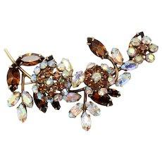 Vintage Schreiner Topaz AB Rhinestone Trembler Triple Flower Brooch