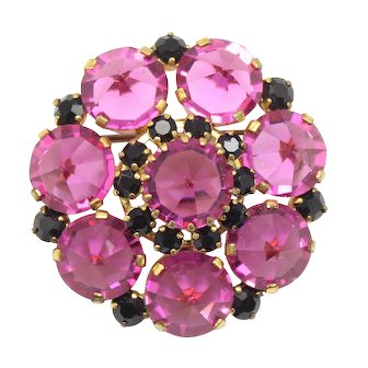 Vintage Fuchsia Pink and Black Inverted Rhinestone Brooch