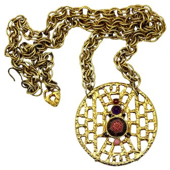 Vintage Juliana Pink Moroccan Matrix Rhinestone Cast Open Weave Pendant Necklace Book Reference