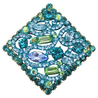 Vintage Juliana Aqua Blue Teal Peridot Enamel Rhinestone Square Brooch Book Piece