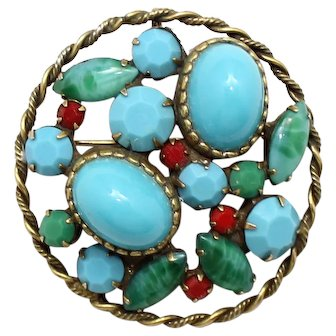 Juliana Faux Turquoise, Jade, Red Cabochon Rhinestone Pendant Brooch Book Piece