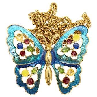Vintage Juliana Neon Blue Enamel and Epoxy Dots Butterfly Necklace Book Piece