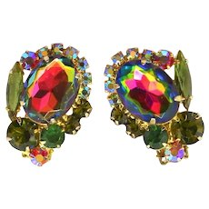 Vintage Juliana Olivine Green Watermelon Rhinestone Earrings