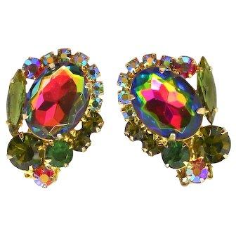 Vintage Juliana Olivine Green Watermelon Rhinestone Earrings