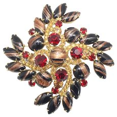Vintage Juliana Black Gold Fluss Topaz Red Rhinestone Brooch