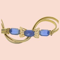 Vintage Schreiner Large Blue Etched Glass Filigree Stretch Belt