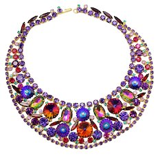 Vintage Juliana Book Piece Watermelon Rivoli Margarita Purple Red Rhinestone Bib Necklace