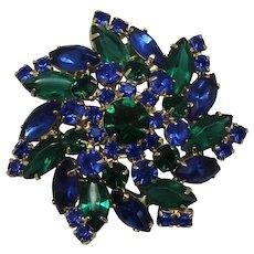 Vintage Juliana Blue and Green Rhinestone Swirling Pin Wheel Style Brooch