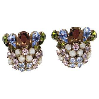 Vintage Schreiner  Blue, Olivine Green, Bronze, Lavender Rhinestone and Clear Moon Stone Earrings