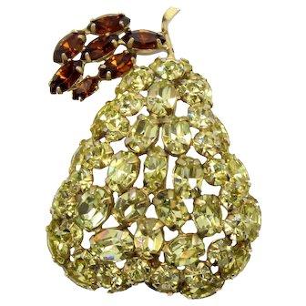 Vintage Schreiner Yellow Topaz Rhinestone Pear Fruit Brooch