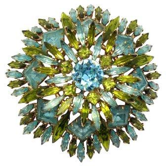Vintage Schreiner Baby Blue Olivine Green Square Ruffle Rhinestone Brooch