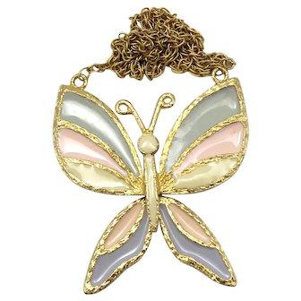 Vintage Juliana Pastel Enamel Butterfly Pendant Necklace Book Piece