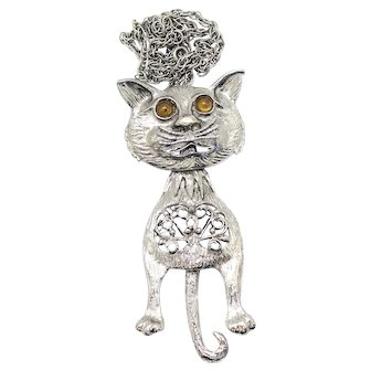 Vintage Juliana Amber Cabochon Eyed Silver Toned Kitty Cat Pendant Necklace Book Piece