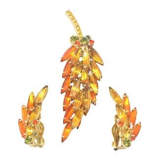 Vintage Juliana Topaz, Orange, Olivine Green Rhinestone Leaf Shaped Brooch Earrings Demi Parure