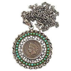Vintage Juliana Green Turquoise Cabochon Rhinestone Indian Head Penny Pendant Necklace Book Piece