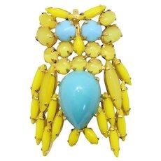 Vintage Schreiner Bright Yellow Rhinestone Turquoise Cabochon Figural Owl Brooch