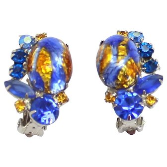 Vintage Juliana Blue Gold Foiled Cabochon Rhinestone Earrings Book Piece