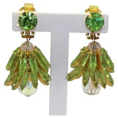 Vintage Juliana for Hobe Stacked Peridot Green Rhinestone AB Crystal Bead Dangle Earrings Book Reference