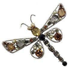 Vintage Schreiner Topaz Gray Rhinestone Faux Pearl Dragonfly Brooch