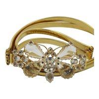 Vintage Schreiner Clear Rhinestone Gold Toned Stretch Butterfly Belt