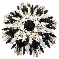 Vintage Schreiner Black and White Square Ruffle Rhinestone Brooch