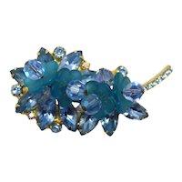 Vintage Juliana Aqua Blue Rhinestone Flower Crystal Bead Brooch