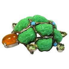 Vintage Schreiner Green Lucite Topaz and Turquoise Rhinestone Turtle Brooch