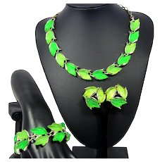 Vintage GREEN GLOWING Leaves Necklace Bracelet Earring Set