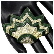 Vintage FRED GRAY Art Deco Green Enamel Pave Rhinestone Dress Clip