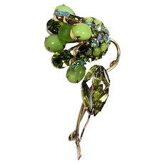 Vintage Schreiner Lime Olivine Green Moonglow Rhinestone Glass Bead Flower Brooch