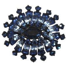 Vintage Schreiner Light and Dark Blue Domed Rhinestone Brooch