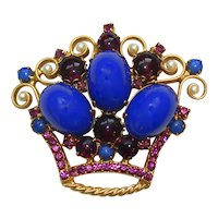 Vintage Juliana Blue High Domed Cabochon Purple Rhinestone Faux Pearl Crown Brooch