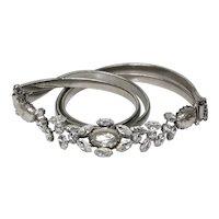Vintage Schreiner Faux Baroque Pearl Clear Rhinestone Silver Toned Stretch Belt