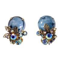 Vintage Juliana Blue Marbled Matrix Cabochon Filigree Leaf Rhinestone Earrings Book Piece