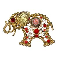 Vintage Juliana Red Rhinestone Moroccan Matrix Cabochon Ball Chain Elephant Pendant Brooch Book Piece