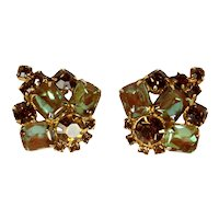 Vintage Topaz Rhinestone Saphiret Emerald Cut Earrings