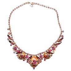 Vintage Juliana Pink and Lavender Rhinestone Rose Limoge Necklace Book Piece