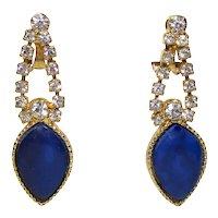 Vintage Juliana Clear Rhinestone Blue Heat Formed Plastic Dangle Earrings