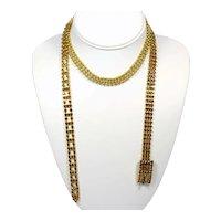 Vintage Juliana Dainty Topaz Rhinestone Gold Toned Ball Chain Long Belt or Necklace