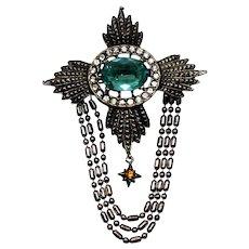 Vintage Juliana Maltese Cross Aqua Blue Rhinestone Dot Dash Swag Chain Brooch