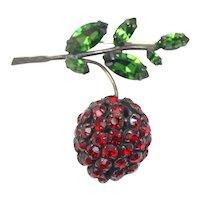 Vintage Schreiner Red Rhinestone Strawberry Berry Cherry Brooch
