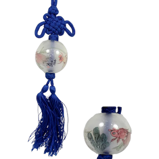 Antique Chinese New Years Silk Knot Painted Glass Ball Necklace
