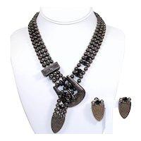Vintage Juliana Western Buckle Ball Chain Black Rhinestone Necklace Earrings Demi Parure