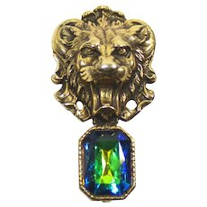 Vintage Juliana Watermelon Rhinestone Roaring Lion Head Brooch