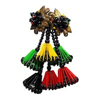 Vintage Miriam Haskell 6 Lampshade Brooch WWII Era Red Yellow Green Black Book Piece