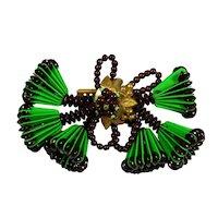 Vintage Miriam Haskell 6 Lampshade Brooch WWII Era Green Black Book Piece